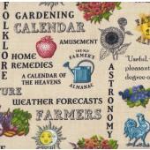 Flowers Plants Gardening Old Farmers Almanac Quilting Fabric
