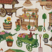 Flowers Wheelbarrow on Cream Quilting Fabric