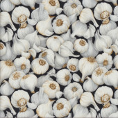 Garlic Cloves on Black Vegetable Quilting Fabric