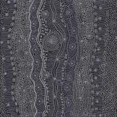 Australian Indigenous Aboriginal Gathering By The Creek Black By J Nakamarra Quilt Fabric