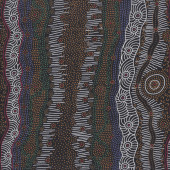 Australian Indigenous Aboriginal Gathering By The Creek By J Nakamarra Quilt Fabric