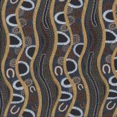 Australian Indigenous Aboriginal Gathering River on Black By B. Egan Quilt Fabric
