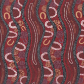 Australian Indigenous Aboriginal Gathering River By B. Egan Quilt Fabric