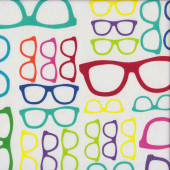 Funky Geeky Glasses on White Geekery Quilting Fabric