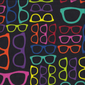 Funky Geeky Glasses on Black Geekery Quilting Fabric
