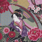 Geisha with Umbrella Camellia Flowers Quilting Fabric