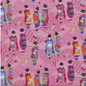 Japanese Geisha Girls on Pink Kimono Fans Oriental Quilting Fabric
