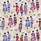 Japanese Geisha Girls on Cream Kimono Fans Oriental Quilting Fabric