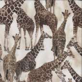Wild Giraffes on Cream Quilting Fabric