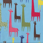 Colourful Giraffes on Blue Fabric