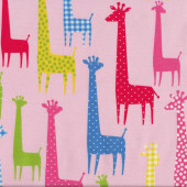 Colourful Giraffes on Light Pink Fabric