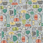 Ladies Handbags Accessories on Grey Girls Night Out Quilting Fabric