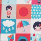 Girls Umbrellas Quilting Fabric