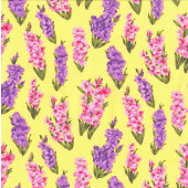 Yellow Pink Red Gladioli Flowers on Blue Quilting Fabric