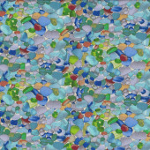 Coloured Glass Pebbles Stones Beach Landscape Quilt Fabric