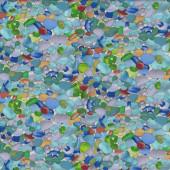 Coloured Glass Pebbles Stones Beach Landscape Quilt Fabric