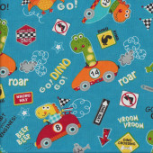 Go Go Dino Roar Dinosaur Racing Cars on Blue Vroom Boys Quilting Fabric
