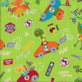 Go Go Dino Roar Dinosaur Racing Cars on Green Vroom Boys Quilting Fabric