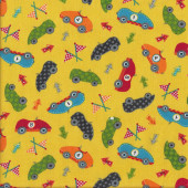 Go Go Dino Racing Cars on Yellow Boys Kids Quilting Fabric
