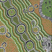 Australian Aboriginal Goanna Dreaming Footprints by Heather Kennedy Quilting Fabric