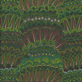 Aboriginal Green Feathers Flowers Goanna Walkabout Quilting Fabric