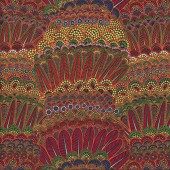 Aboriginal Red Orange Feathers Flowers Goanna Walkabout Quilting Fabric