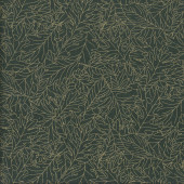 Leaves with Metallic Gold on Dark Green Christmas Quilting Fabric