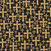 Divine Gold Crosses With Metallic Religion Christian Quilt Fabric
