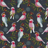 Pink Cockatoos Golden Grove Birds Quilting Fabric