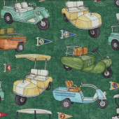 Golf Buggies on Green Quilting Fabric