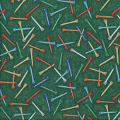 Golf Tees on Green Quilting Fabric