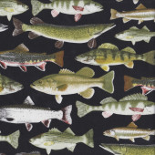 Gone Fishing Fish on Black Trout Mens Boys Quilting Fabric