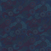 Australian Aboriginal Gooloo Blue Green Dot Quilting Fabric