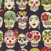 Gotas de Amor Skulls Skeletons Woman Quilting Fabric
