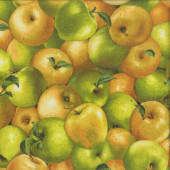 Green and Golden Yellow Apples Fruit Quilting Fabric