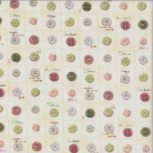 Green Buttons Sewing Quilting Fabric