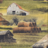 Greener Pastures Barns Hay Grass Country Farm LARGE PRINT Quilting Fabric