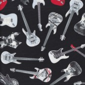 Electric Guitars on Black Rock n Roll Music Quilting Fabric