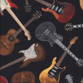 Electric and Acoustic Guitars on Black Quilting Fabric