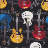 Acoustic Guitars Music Notes Musical Instrument on Black Quilting Fabric