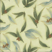 Australian Sun Eucalyptus Gum Leaves Gumnuts on Mint Quilting Fabric