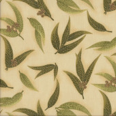 Australian Sun Eucalyptus Gum Leaves Gumnuts on Olive Quilting Fabric