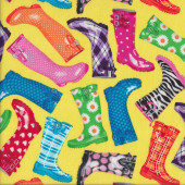 Colourful Gumboots on Yellow Wellies Rainboots Quilting Fabric