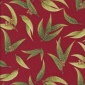 Australian Sun Eucalyptus Gum Leaves Gumnuts on Red Quilting Fabric