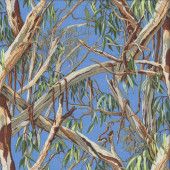 Australian Gum Trees Leaves on Blue Eucalyptus Landscape Quilting Fabric