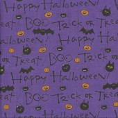 Happy Halloween on Purple Trick or Treat Cat Pumpkin Bat Quilting Fabric