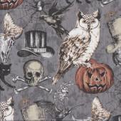 Halloween Black Cats Spiderwebs Owls Pumpkins Quilting Fabric
