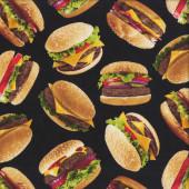 Burgers on Black Hamburgers Junk Food Quilting Fabric