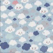 Happy Clouds Rainbows on Blue Kids Stars Quilting Fabric