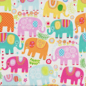 Cute Happy Elephants Quilting Fabric